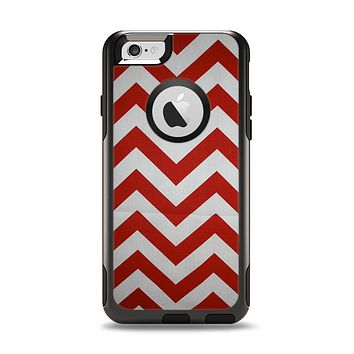 The Red Vintage Chevron Pattern Apple iPhone 6 Otterbox Commuter Case Skin Set