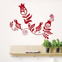Wall Decals Flower Bird Floral Decor Pattern Decal Vinyl Sticker Bedroom Living Room Home Art Mural OS123