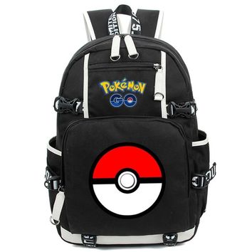 New Fashion  Backpack Anime Pocket Monster Cosplay Nylon Rucksack Boys Girls Teenagers School Travel Bag MochilaKawaii Pokemon go  AT_89_9