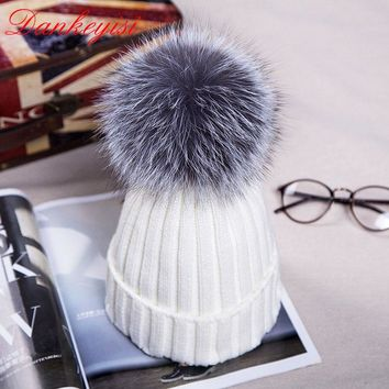 DANKEYISI Fashion Autumn Winter Women Cap Fox Fur Ball Hat Pom Poms 12CM Cap Female Warm Beanies Crochet Knit Beanie Hats Caps