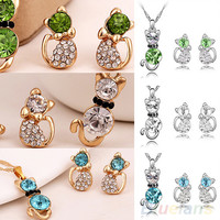 Women's Romantic Engagement Plated Cute Cat Jewelry Sets Necklace Earrings