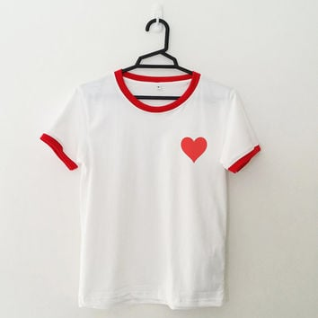Valentine's Heart love t-shirt womens Girls teens ringer tee tumblr top cute pocket graphic tee unisex grunge shirt outfit back to school