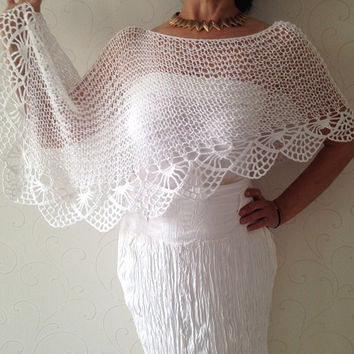 Hand knit poncho , bridal poncho , bridal capalet , wedding cape , wedding shrug , spring poncho capelet , white summer top, summer cover up
