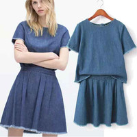 Women's Fashion Denim T-shirts Skirt Set [5013100036]