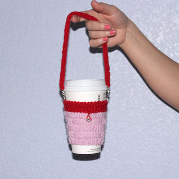 Knit coffee cozy Hearth charm Rhinestones Valentine's gift for her. Knitted cup sleeve Hands-free carrying. Cup sweater. Pink red. Handmade.