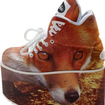 Red Fox Buffalo Platform Shoes created by ErikaKaisersot | Print All Over Me