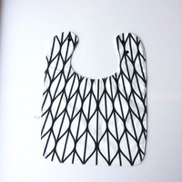 Large baby or toddler bib. White cotton with black pattern. White waffle cotton back. Shower gift. Gender Neutral. Geometric monochrome