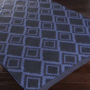 Aztec Area Rug | Blue Natural Fiber and Texture Rugs Hand Woven | Style AZT3015