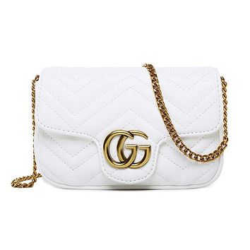 Gucci Popular Women Classic Pure Color Leather Metal Double G Logo Satchel Crossbody Shoulder Bag White I12102-1