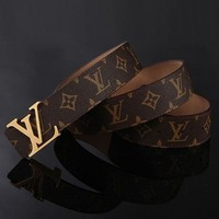 Louis Vuitton LV Leather Belt Unisex Fashion Smooth Buckle Leather Belt