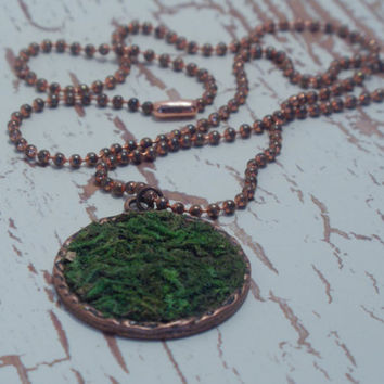 Moss Necklace, Moss Pendant Hangs from Copper Ball Chain, Eco Friendly, Terrarium Necklace, Living Plant Jewelry, Terrarium Jewelry
