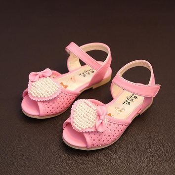 DCCKIX3 Design Summer Stylish Pearls Children Velcro Sandals [4919312516]