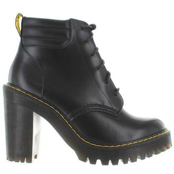 CREYONIG Dr. Martens Persephone - Black Leather High Chunky Heel Lace-Up Bootie