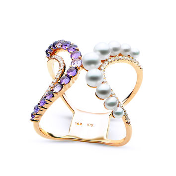 IMPERIAL PEARLS BY JOSH BAZAR: MODERN DESIGN AMETHYST, DIAMOND, FRESHWATER PEARL AND 14K ROSE GOLD RING