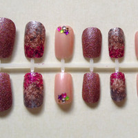 Dusky Pink Glitter, Stamped Pink Gradient, and Baby Pink Fake Nails with Colourful Rhinestones Nail Set