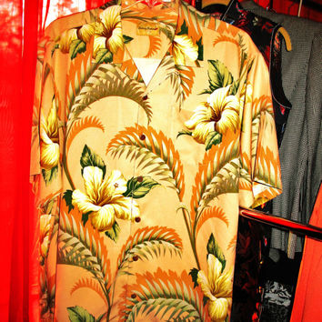 Amazing Vintage Hawaiian Shirt TOMMY BAHAMA Tropical  Flowers & Leaves  Size XL  100% Silk Very Collectible