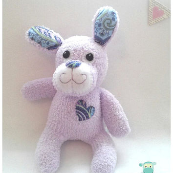 Plush Bunny, Purple Sock Bunny, Stuffed Animal, Sock Animal, Baby Shower, Nursery Gift, Easter Gift