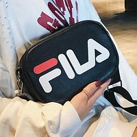 FILA Fashionable Women Shopping Leather Crossbody Satchel Shoulder Bag Black