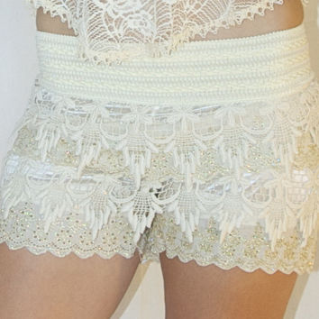 Lace Shorts in Cream with Gold Embroidery