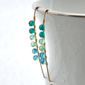 Emerald Green Earrings, Turquoise Blue Peridot Crystal, Multicolor Gold Wire Jewelry