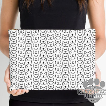 French Bulldog zipper pouch, sleeve, pocket, clutch, bag, organizer - black & white Frenchie fabric print - #frenchielove - Mother's Day!