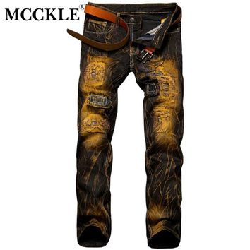MCCKLE Fashion Vintage Men's Ripped Jeans Pants Slim Fit Skinny Denim Jeans Hip Hop Streetwear Destroyed Male Jean Trousers