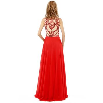 New Arrives Luxuriant Long Evening Dresses Beaded Cap Sleeve Tulle Sexy Evening Party Dresses
