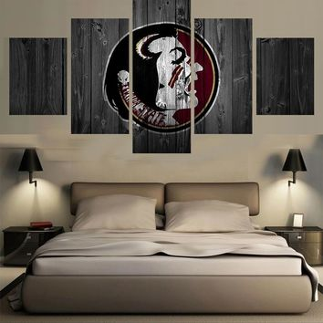 Florida State Seminoles College Wall Art Panel Canvas Print 5 Panel Picture