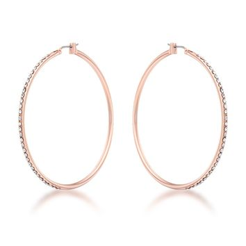 Rose Gold & Crystal Hoops
