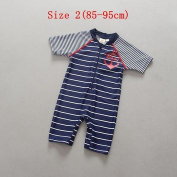 One Piece Baby Boy Swimming Suit Striped Short Sleeve Zipper Kids Swimwear for Boys Jumper Stomach Protection Children Swimsuit