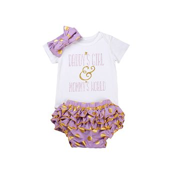3pcs/Set Baby Clothing Set Newborn Toddler Infant Baby Girls Clothes Romper+ Multiple layers Briefs +Headband Outfits Set