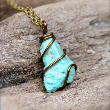 Raw Turquoise Jewelry - Rough Turquoise Necklace - Natural Gemstone Necklace - Raw Stone Jewelry - Bohemian Necklace - Gypsy Boho Jewelry