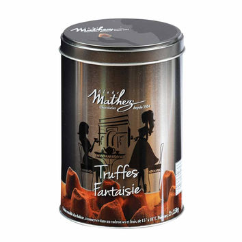 French Chocolate Truffle in Silver Tin by Mathez 17.6 oz