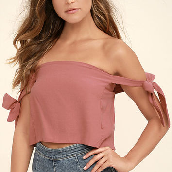 That's the Ticket Rusty Rose Off-the-Shoulder Crop Top