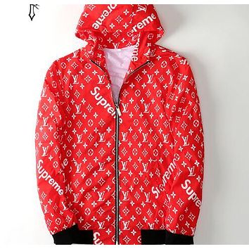 LV X Supreme Stylish Trending Women Men Casual Sport Hoodie Zipper Thin Jacket Coat