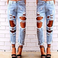 Sexy Womens Ripped Boyfriend Hole Jeans Trousers Casual Loose Retro Denim Pants