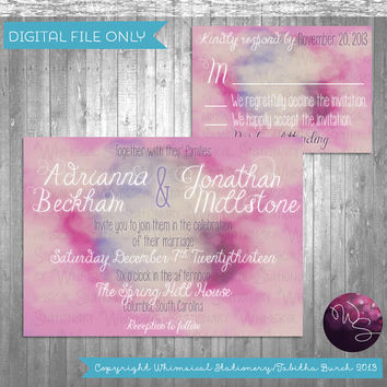 "2PC ""Watercolor Wedding"" Invitation and Response Card (Printable File Only) Wedding Invitation Printable; Watercolor Invite; Artist"