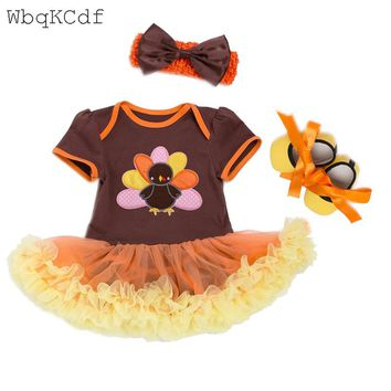 Infant Toddler Clothing Set Cute Turkey Newborn Baby Girl Thanksgiving Outfit Baby Lace Romper Tutu Dress 3PCS Orange Suits