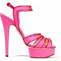 Leather-trimmed neon satin platform sandals | CHARLOTTE OLYMPIA | Sale up to 70% off | THE OUTNET