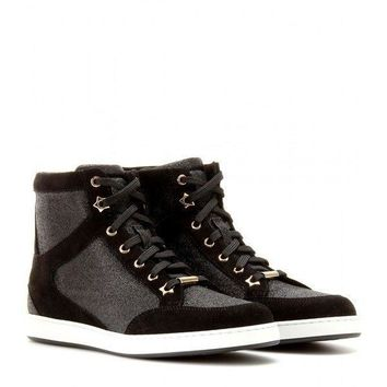 ca spbest Jimmy Choo Black Glitter High Tops 38.5
