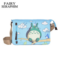 FAIRY SERAPHIM Anime My Neighbor Totoro Messenger Canvas Bag Shoulder Bag Cute Printing Blue Totoro Bag Teenagers Schoolbag
