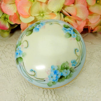 Vintage Thomas Bavarian Porcelain Covered Jar Box ~ Hand Painted ~ Blue Flowers