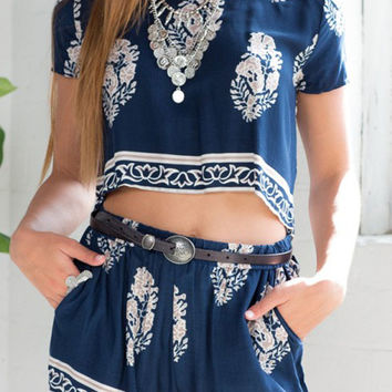 Blue Tribe Pattern Short Sleeve Top With High Waisted Shorts