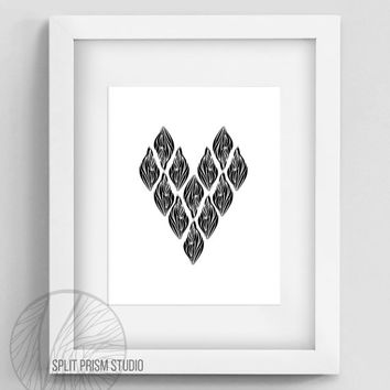 Original Art Print, Download, Print, Art, Digital File, Wall Art, Black and White, Heart, Modern Art, Graphic Print, Instant Download