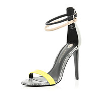 River Island Womens Black color block barely there sandals