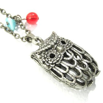 Hollow Owl Necklace Vintage Beaded Wildlife Silver Tone NI35 Bird Cage Pendant Retro Indie
