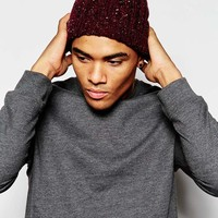 ASOS Cable Slouchy Beanie in Burgundy with Nep
