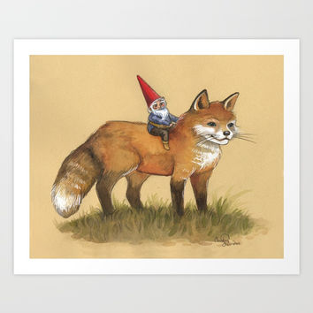 Gnome and Fox Art Print by Christina Siravo