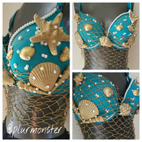 gold and teal queen mermiad festival rave top- mermiad inspired rave bra with seashells and gold net