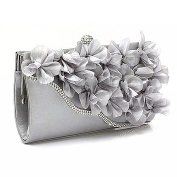 Ladies Satin Floral Evening Clutch purse With Chain Shoulder Strap